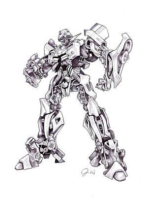 Transformer Drawing - Bumble Bee by Jamie Warkentin