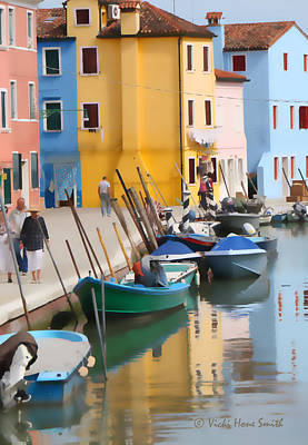 Photograph - Burano Canal Scene by Vicki Hone Smith