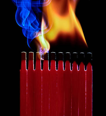 Photograph - Burning Matches by Juan Carlos Ferro Duque