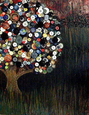 Art Print featuring the painting Button Tree 0002 by Monica Furlow