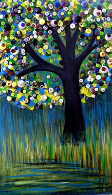 Art Print featuring the painting Button Tree 0005 by Monica Furlow