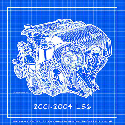 Drawing - C5 2001 - 2004 Ls6 Z06 Corvette Engine Blueprint by K Scott Teeters