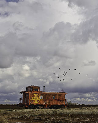 Photograph - Caboose In A Cotton Field by Melany Sarafis