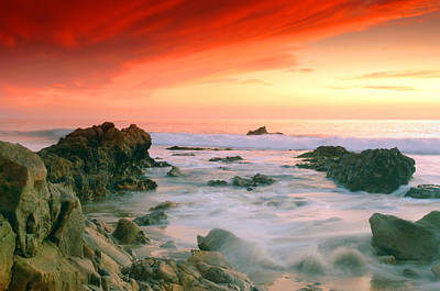 California Beach Sunset Art Print