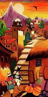 Condor Painting - Camino De Los Andes by Gustavo Oliveira