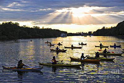 Sports Royalty-Free and Rights-Managed Images - Canoeing by Elena Elisseeva