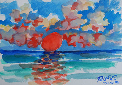 Water Painting - Caribe Sunset by Rufus Norman