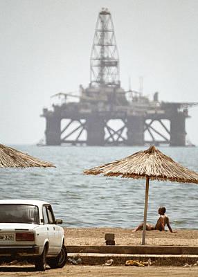 Caspian Sea Oil Rig Art Print