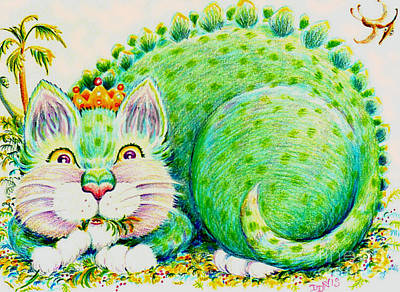 Art Print featuring the drawing Catasaurus Rex by Dee Davis