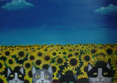 Cats And Sunflowers Art Print by Diana Riukas