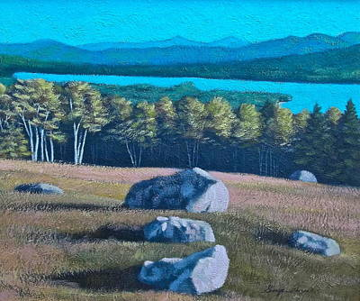 Nature Center Painting - Center Hill Overlooking Webb Lake by George Ramos