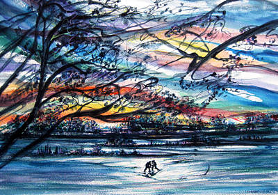 Pond Hockey Painting - Center Ice by NHowell