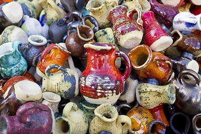 Ceramic  Jugs And Cups  Art Print by Aleksandr Volkov