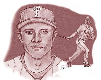 Drawing - Chase Utley by Chris  DelVecchio