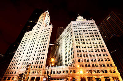 Lake Michigan Digital Art - Chicago Downtown City  Night Photography Wrigley Square by Mark Duffy