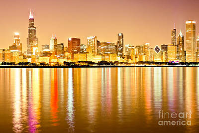 Chicago Skyline At Night Photo Art Print by Paul Velgos