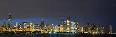 Adler Wall Art - Photograph - Chicago Skyline At Night by Twenty Two North Photography