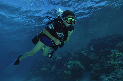 Underwater Breathing Photograph - Child Diver by Alexis Rosenfeld