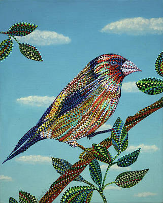 Animal Painting - Chirp  by Erika Pochybova