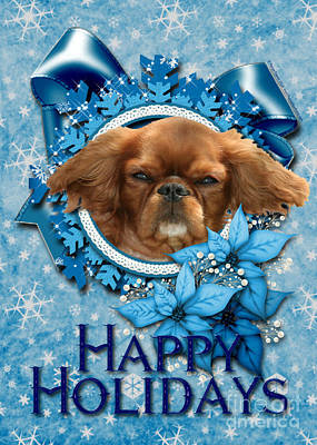 Breed Digital Art - Christmas - Blue Snowflakes Cavalier King Charles Spaniel by Renae Laughner