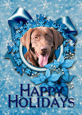 Chocolate Labrador Retriever Digital Art - Christmas - Blue Snowflakes Labrador by Renae Laughner