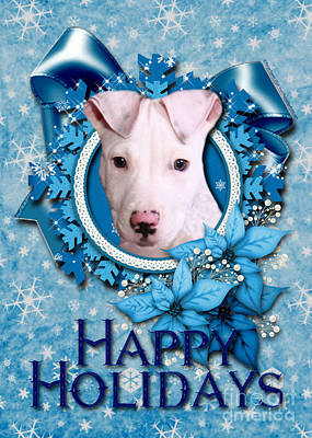 Christmas - Blue Snowflakes Pitbull Art Print by Renae Laughner