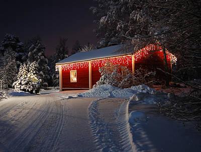 Snowy Night Photograph - Christmas House  by Roman Rodionov