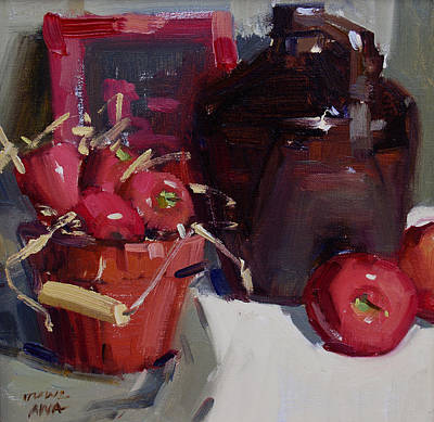 Still Life With Green Apples Painting - Cider by Judy Crowe