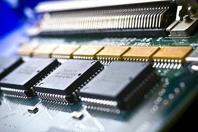 Processor Photograph - Circuit Board Components by Arno Massee