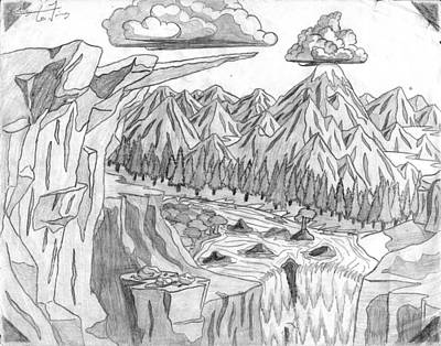 Corey Drawing - Cliffs And Clouds by Corey Finney