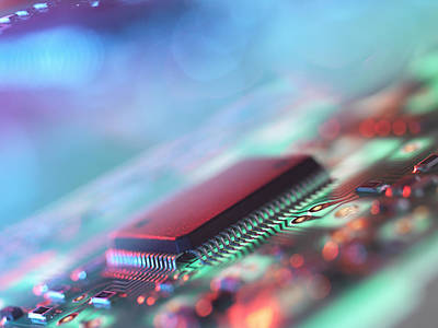 Mother Board Photograph - Close Up Of Colorful Circuit Board by Cultura Science/Rafe Swan