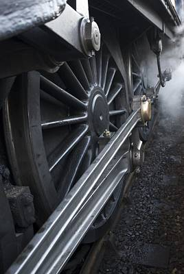 Close-up Of Steam Engine Train Wheel Art Print by John Short