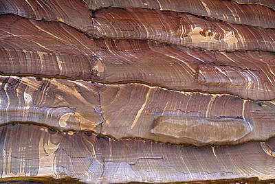 Closeup Of Sandstone Patterns, Petra, Jordan Art Print by Fred Bruemmer