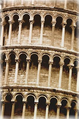 Closeup Of The Leaning Tower Of Pisa Art Print