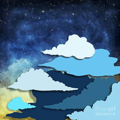 Cloud And Sky At Night Art Print