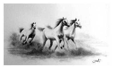 Charcoal Horse Drawing - Cloudrunners by Arijeet Chanda