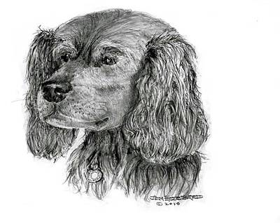 Art Print featuring the drawing Cocker Spaniel by Jim Hubbard