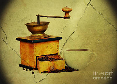 Coffee Mill And Beans In Grunge Style Print by Michal Boubin