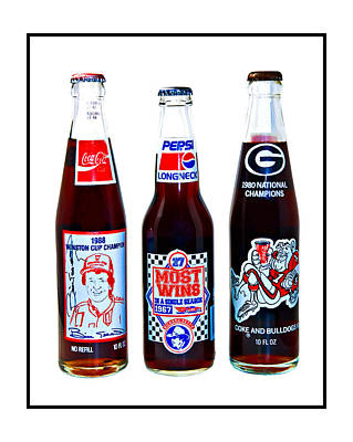 Win Bottles Photograph - Collectable Cola Bottles by Susan Leggett