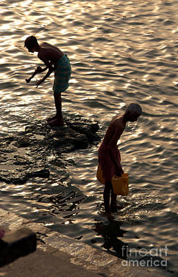Cremation Ghat Photograph - Collecting Water From The Ganges by Serena Bowles