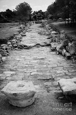 Colonnaded Street In The Ancient Site Of Salamis Famagusta Turkish Republic Of Northern Cyprus Trnc Art Print by Joe Fox