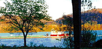 Spring Scenery Photograph - Colorful Barge At Flood Stage by Padre Art