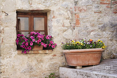 Stone Flower Planter Photograph - Colorful Flowers In Window Flower Box by Jeremy Woodhouse