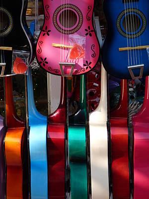 Colorful Guitars Art Print by Jeff Lowe