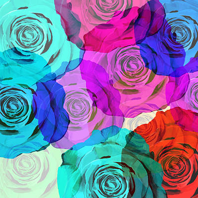 Abstract Rose Wall Art - Photograph - Colorful Roses Design by Setsiri Silapasuwanchai