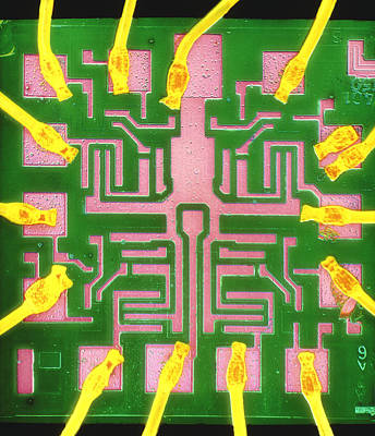 Integrated Photograph - Coloured Sem Of A 7401 Ttl Integrated Circuit by Dr Jeremy Burgess