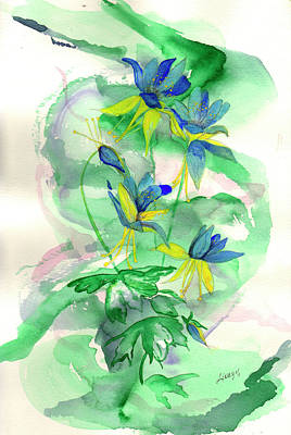 Columbines Art Print by Linda Palmer