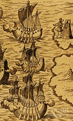Columbus Caravels Depart Spain, 1492 Art Print