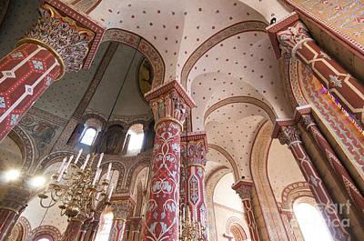 Columns Of The Roman Church Saint-austremoine D'issoire. Issoire. Auvergne. France Art Print