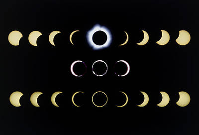 Composite Time-lapse Images Of Solar Eclipses Art Print by Dr Fred Espenak